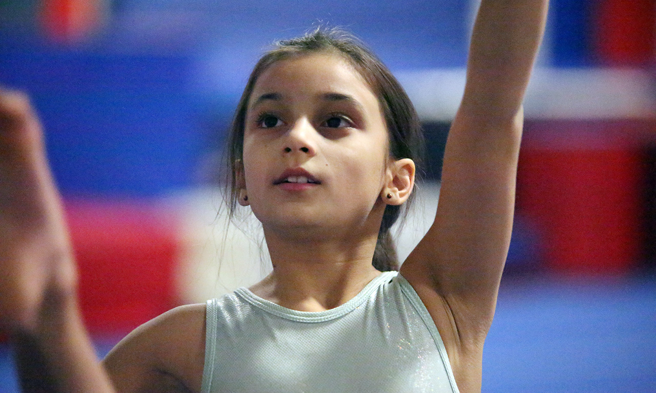 Future Stars Gymnast works on her dance